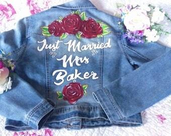 Custom painted personalised wedding jackets