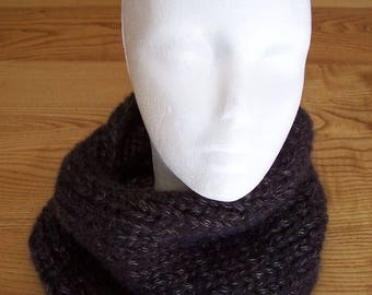hand knitted snood, black and silver