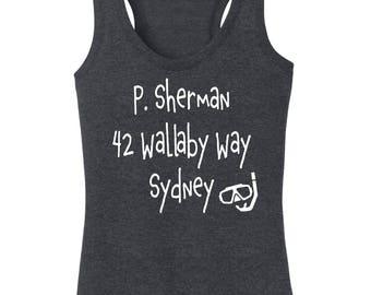 Disney's Finding Nemo Inspired P Sherman 42 Wallaby Way Sydney Women's Racerback Tanktop