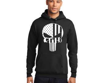 Punisher Flag Pullover Hooded Sweatshirt Hoodie