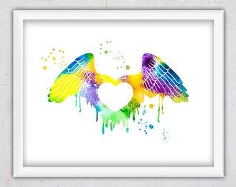 Watercolor Print, Nursery Wall Art Printable, Heart Print, Instant Download Wall Art, Love Wings Print, Digital Nursery Print, Teen Girl Art