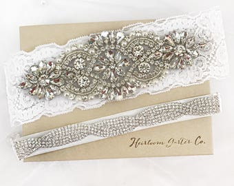Wedding garter, Rhinestone and Lace Wedding Garter Set NO SLIP grip vintage rhinestones bridal garter