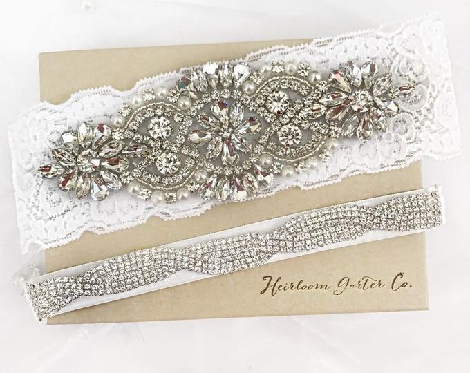 Wedding garter, Rhinestone and Lace Wedding Garter Set NO SLIP grip vintage rhinestones bridal garter
