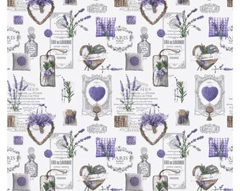 Lavender white fabric - fabric hearts - fabric - 1/2 meter