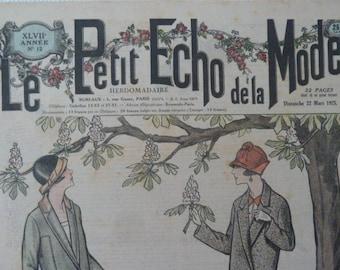 """Antique French magazine """"Le Petit echo de la mode"""" Alsace Journal Gazette fashion magazine in 1925 Art Deco Edwardian style original"""