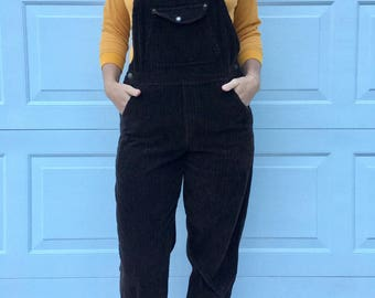 Women's Vintage Express Brown Corduroy Overalls
