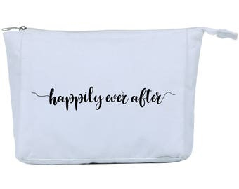 Happily Ever After Canvas Lined Makeup Bag - White Makeup Bag - Cosmetic Bag - Bridal Gift - Gift for Bride - Canvas Bag - Gift for Wife