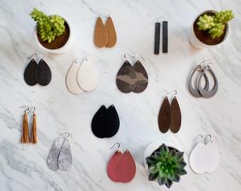 Pebbled Leather Teardrop Earrings