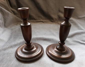 Pair of 1930s wooden candlesticks, mid century, vintage, retro