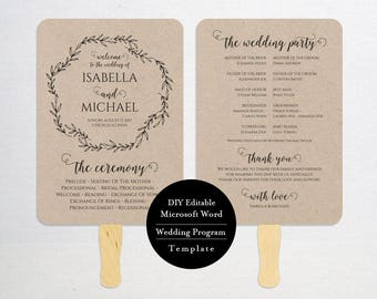 Wedding Program FAN template, instant download editable printable, Ceremony order card, MSW386