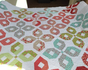 King size patchwork quilt, Moda Little Ruby fabric, professionally, Long arm quilted