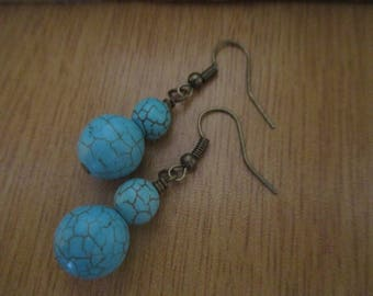 Dangle Earrings with Semi Precious Turquoise Gemstone Beads on Bronze Ear Wires