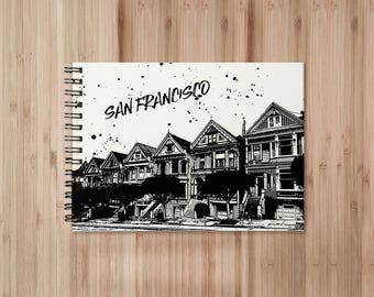 San Francisco Notebook/Sketchbook Wire Bound - Blank pages