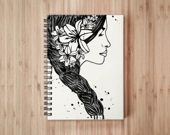 Exotic Lady Notebook/Sketchbook Wire Bound - Blank pages