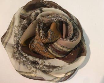 Beige Paisley Silk Scarf