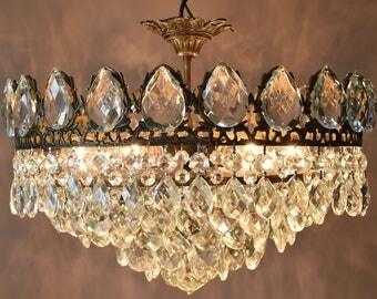 FLUSH VINTAGE CRYSTAL Chandelier Antique Style Chandelier Crystal Lighting Lamp Brass Hanging Pendant French Chandelier Home & Living Light