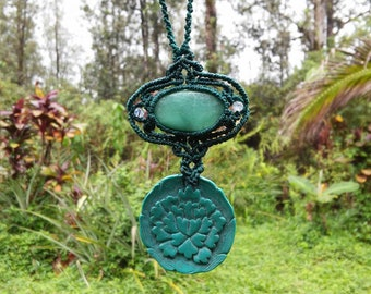 Amazonite Macrame Necklace with Moonstone beads and Blossoming Lotus Pendant