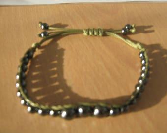 Unisex bracelet,Macrame bracelet,Hematite bracelet