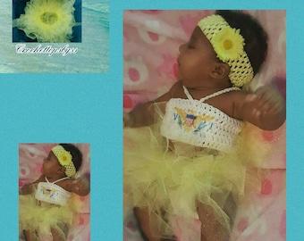 Infant Girls' VI Crochet Bandeau Top, Tutu & Headband