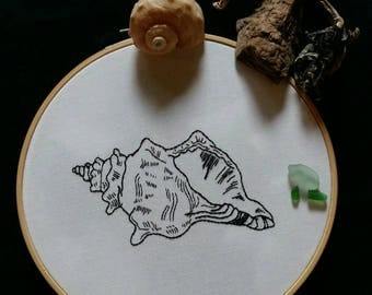 Contemporary Horse Conch Shell Embroidery Hoop