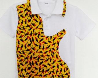 White African print polo t-shirt