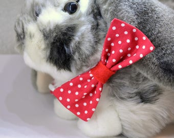 Valentine cat collar bow tie - Red or Blue cat collar breakaway - kitten collar - red polka dot cat collar - cat collar - boy - girl