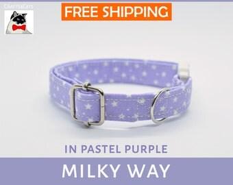 Breakaway cat collar 'Milky Way', cat collar, kitten collar, cat collar with bell, purple cat collar, stars galaxy, blue,silver,Crafts4Cats