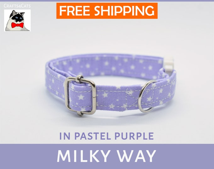 Featured listing image: Breakaway cat collar 'Milky Way', cat collar, kitten collar, cat collar with bell, purple cat collar, stars galaxy, blue,silver,Crafts4Cats