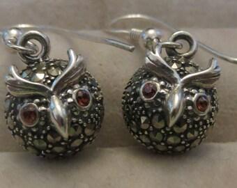 Beautiful little OWL sterling silver, rubies & marcasites ball drop earrings