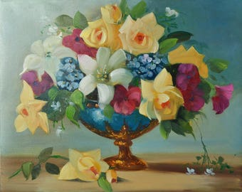 Oil painting Flowers in vase