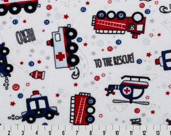 To The Rescue Minky Fabric, Shannon Minky Fabric, Shannon Cuddle Minky, Firetruck Minky, Police Car Minky, Helicopter Minky