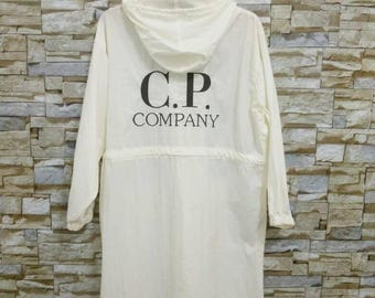 C.P.Company Jacket Parka Hoodie Rare Vintage Designer C.P.Company Function Embroidered Logo White And black Nylon M