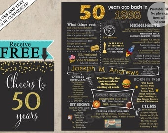 50th Birthday Poster, 50th Birthday Chalkboard, 50th Anniversary Poster, 50th Birthday Gift, back in 1968, 50 years ago, born in 1968