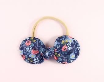 Floral Bow Newborn Headband | Floral Printed Bow | Blue Bow Headband | Rifle Paper Co | Top Knot Bow on Nylon Headband | Baby Girl Headband