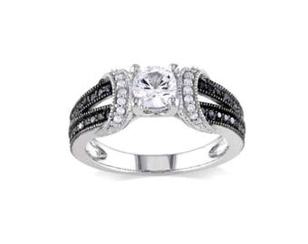 Silver Plated, Black Onix & CZ Solitaire Ring Size 8