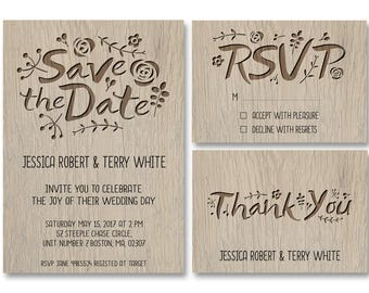 Rustic Wedding Invitation - Wedding Invitation - Rustic Wedding - Wood - Vintage - 5x7 Invite RSVP and Thank You Card - Printable Design