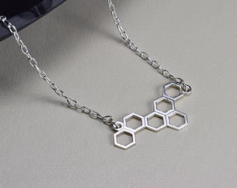 Sterling Silver, honeycomb necklace, hexagon Jewelry