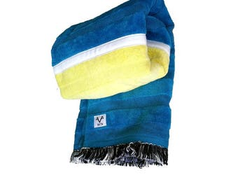 Premium, Velour, Handcrafted, 100% Fine Indian Cotton, Designer, Beach Towel, Colours - Blue, Green, Yellow