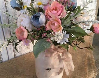 A Spring or Summer Rose and Blue Floral Arrangement, Wedding Centerpiece, Shabby Chic Floral Arrangement, Mothers Day, Easter, Crock