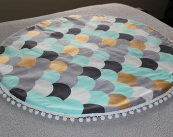 Metallic Scale Print Reversible Round Baby Play Mat, Roundie, Tummy Time