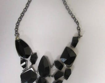 "Hand Made Black Stone Necklace with 16"" chain with Lobster Claw Closure."
