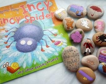 Nursery rhyme stones and book