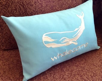 WHALECOME Welcome Decorative Pillow, Nautical Whale Embroidery Lumbar Pillow Cover, Ocean Blue, Coastal Beach Gift, Cottage Shabby Chic