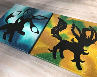 """""""Shinies Leafeon and Glaceon"""" - Painted Canvases Inspired by Pokemon - Set of Two"""