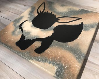 """""""Shiny Eevee"""" - Painted Canvas Inspired by Pokemon"""
