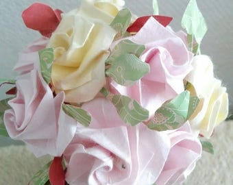 Bouquet of roses with foliage real origami