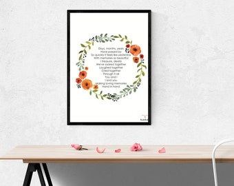 Poetry I  Original poem I Titled HAND IN HAND I Poetic Art for Home Decor and Gift