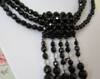 1950s black glass and crystal choker 3 in 1 necklace stylish retro necklace
