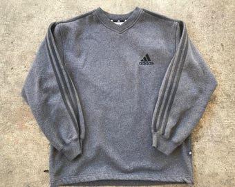Vintage 90's  Adidas Gray And Black Three Stripes V-Neck Sweater