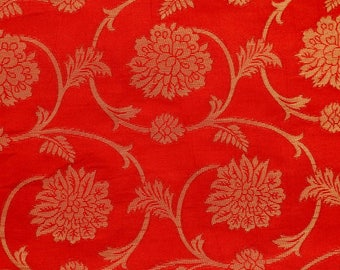 Half Yard of Red and Golden Flower and Leaf Pattern Brocade Silk Fabric by the yard